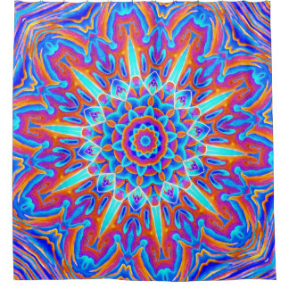 Psychedelic Mandala Red and Blue Shower Curtain