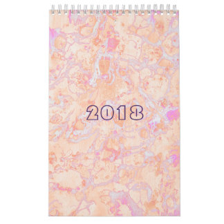 Psychedelic marble paint retro calendar