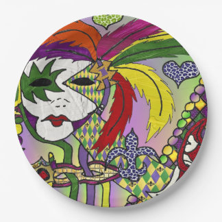 Psychedelic Mardi Gras Feather Mask 9 Inch Paper Plate