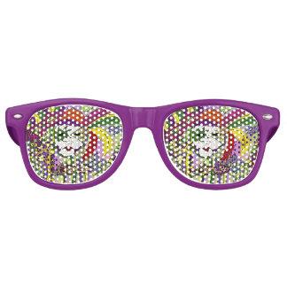 Psychedelic Mardi Gras Feather Mask Retro Sunglasses