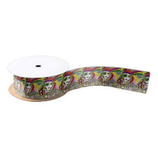 Psychedelic Mardi Gras Feather Mask Satin Ribbon
