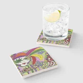 Psychedelic Mardi Gras Feather Mask Stone Coaster