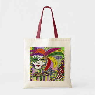 Psychedelic Mardi Gras Feather Mask Tote Bag