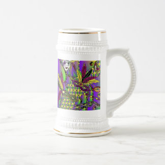 Psychedelic Mardi Gras Feather Masks Beer Stein Coffee Mugs