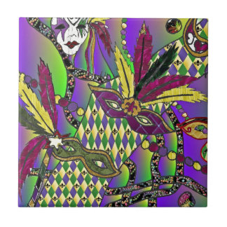 Psychedelic Mardi Gras Feather Masks Ceramic Tile