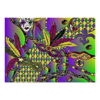 Psychedelic Mardi Gras Feather Masks Poster
