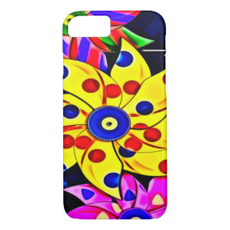 Psychedelic Mechanical Rainbow Flowers iPhone 7 Case