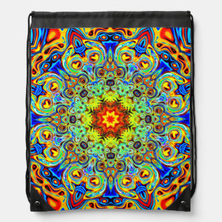 Psychedelic Melting Pot Mandala  - Trippy Gifts Drawstring Bag