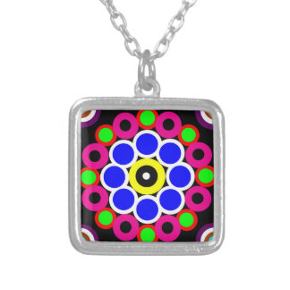 Psychedelic Modern Persian Rug Pattern Silver Plated Necklace