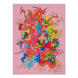 Psychedelic Monster Poster