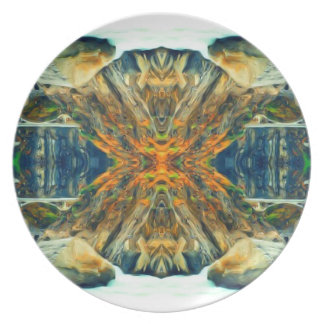 Psychedelic Mountain Range Painting Pattern Plate
