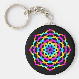 Psychedelic Multicoloured Mandala key-ring Key Ring