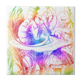 Psychedelic Mushroom Alice's Adventures Wonderland Ceramic Tile