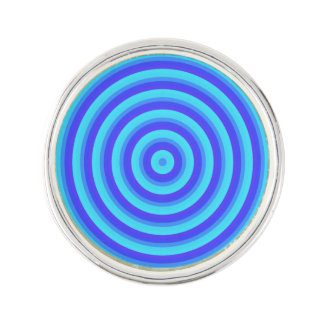 Psychedelic Neon Blue Circles Lapel Pin