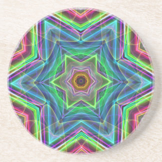 Psychedelic Neon Cool Modern Star Shapes Drink Coaster