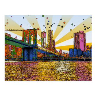 Psychedelic New York City: Brooklyn Bridge, WTC #1 Postcard