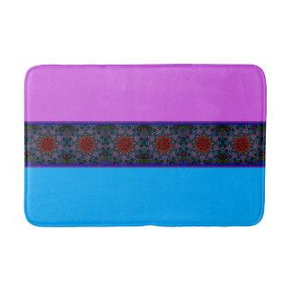 Psychedelic Nonagon Pattern on Pink and Blue Bath Mat