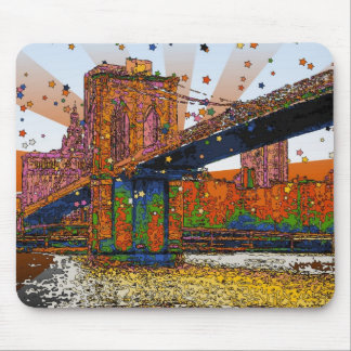 Psychedelic NYC: Brooklyn Bridge #1 Mouse Pad