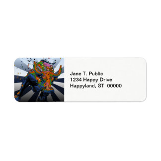 Psychedelic NYC: Charging Bull of Wall Street Return Address Label