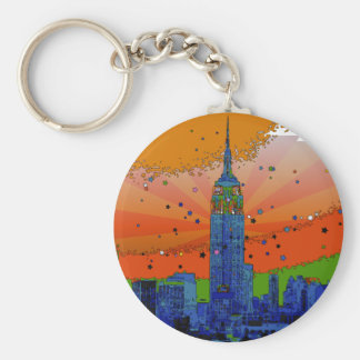Psychedelic NYC: Empire State Building #3 Basic Round Button Key Ring
