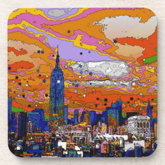 Psychedelic NYC Empire State Building & Skyline A1 Drink Coaster