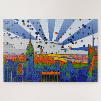 Psychedelic NYC: ESB Wide Skyline View Jigsaw Puzzle