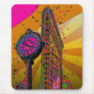 Psychedelic NYC: Flatiron Building & Clock #2B Mouse Pad