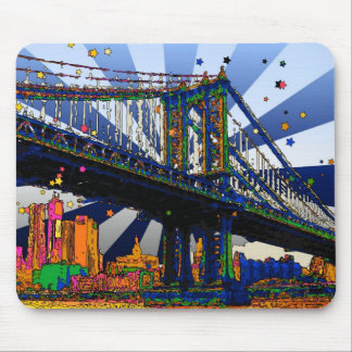 Psychedelic NYC: Manhattan Bridge #1 Mouse Pads