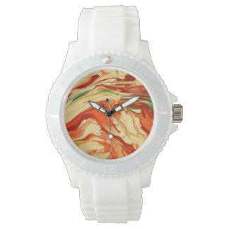 Psychedelic orange swirl pattern watch