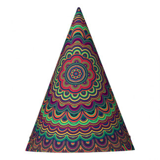 Psychedelic oval  mandala party hat