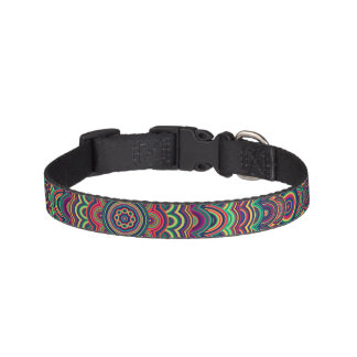 Psychedelic oval  mandala pet collar