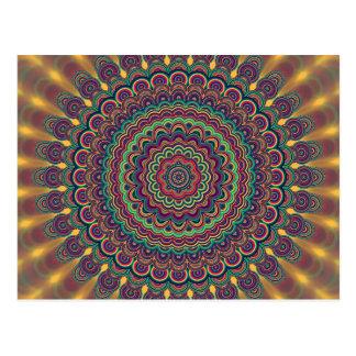 Psychedelic oval  mandala postcard