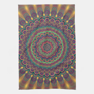 Psychedelic oval  mandala tea towel