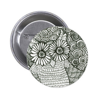Psychedelic Owl Button