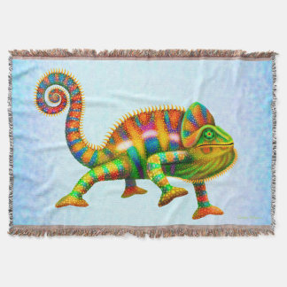 Psychedelic Panther Chameleon Throw