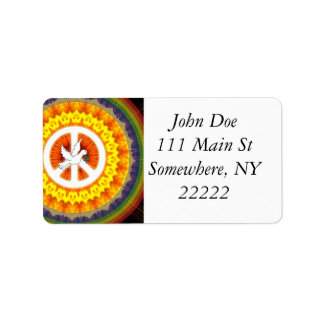 Psychedelic Peace Dove Address Label