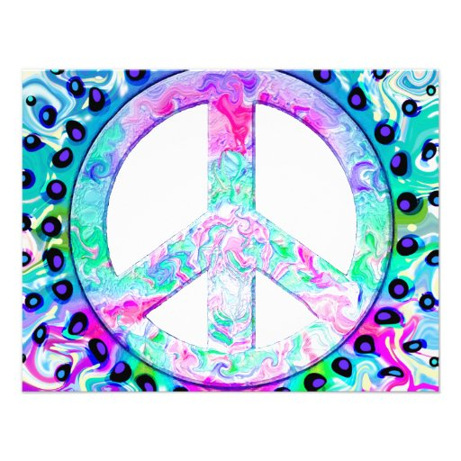 Psychedelic Peace Sign Abstract Custom Announcement