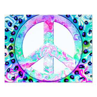 "Psychedelic Peace Sign Abstract 4.25"" X 5.5"" Invitation Card"