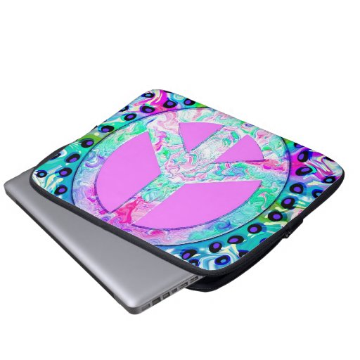 Psychedelic Peace Sign Abstract Computer Sleeve