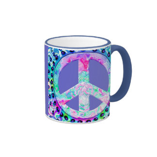 Psychedelic Peace Sign Abstract Mugs