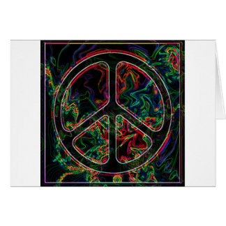 psychedelic peace sign greeting card