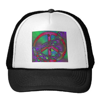 psychedelic peace sign trucker hats