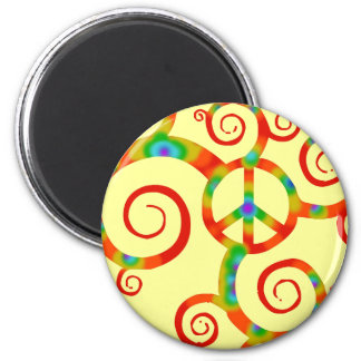 Psychedelic peace symbol. 6 cm round magnet