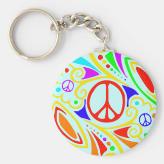 Psychedelic peace symbol. basic round button key ring