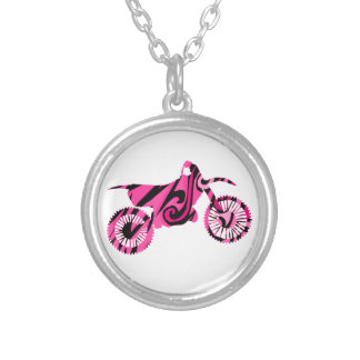 Psychedelic Pink Dirt Bike Necklace