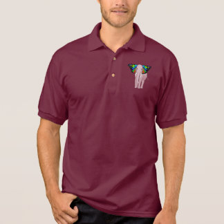 Psychedelic Pink Elephant With Butterfly Ears Cool Polo Shirt