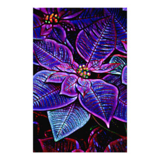 Psychedelic Poinsettia Stationery