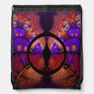 Psychedelic Purple Butterfly Fractal Pattern Drawstring Bag