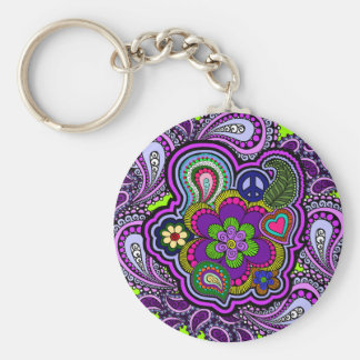Psychedelic Purple Paisley Key Ring