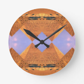 Psychedelic Pyramids Round Clock